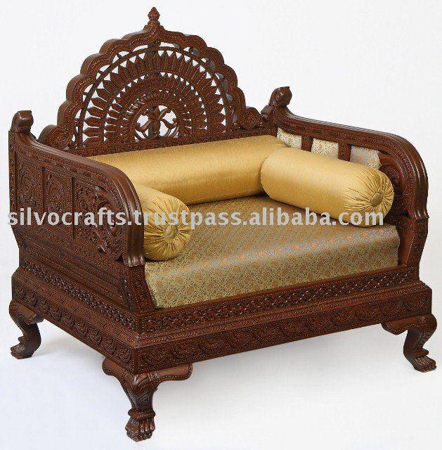 Royal Indian Rajasthani Jodhpur Hand Carved Teak Wooden Sofa Diwan