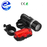 2016 1Set Waterproof 5 LED Lamp Bike Bicycle Front Head Light+Rear Safety Flashlight Black,