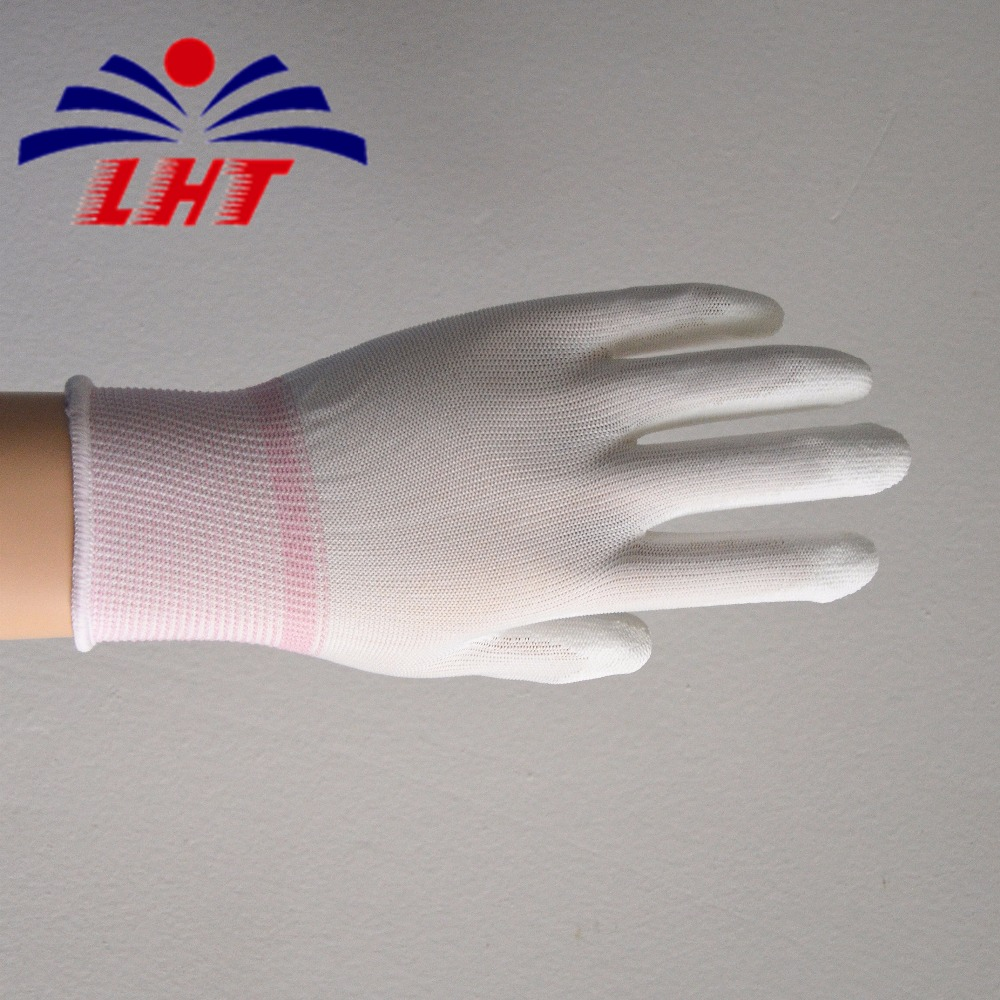 China high end top labor protection antistatic fabric nylon knitted ESD pu coated finger palm fit industrial gloves wholesaler