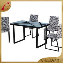High Quality round glass dining table and 6 chairs