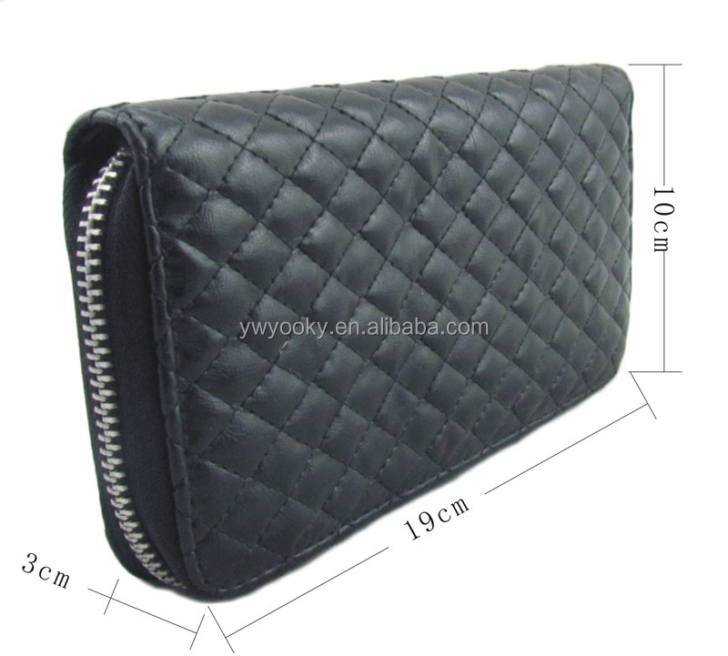 High quality black PU leather quilted men clutch bag