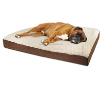 Hot selling luxury roll package fleece suede fabric egg crate orthopedic memory foam dog bed