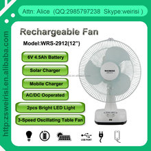 "Solar 12 Inch Rechargeable Table Fan with USB & DC Socket (WRS-2912(12"")"