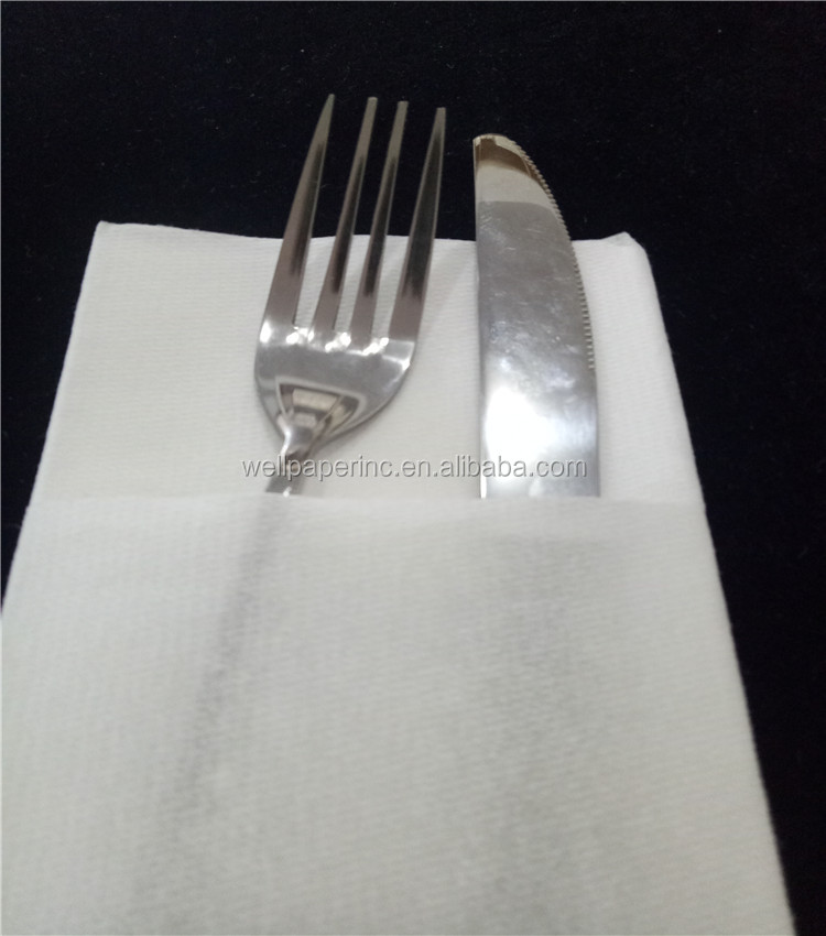 With flatware pocket guest towel printed customized design airlaid napkin with cutlery