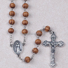 8MM Round olive Wooden Beads Rosary Necklace