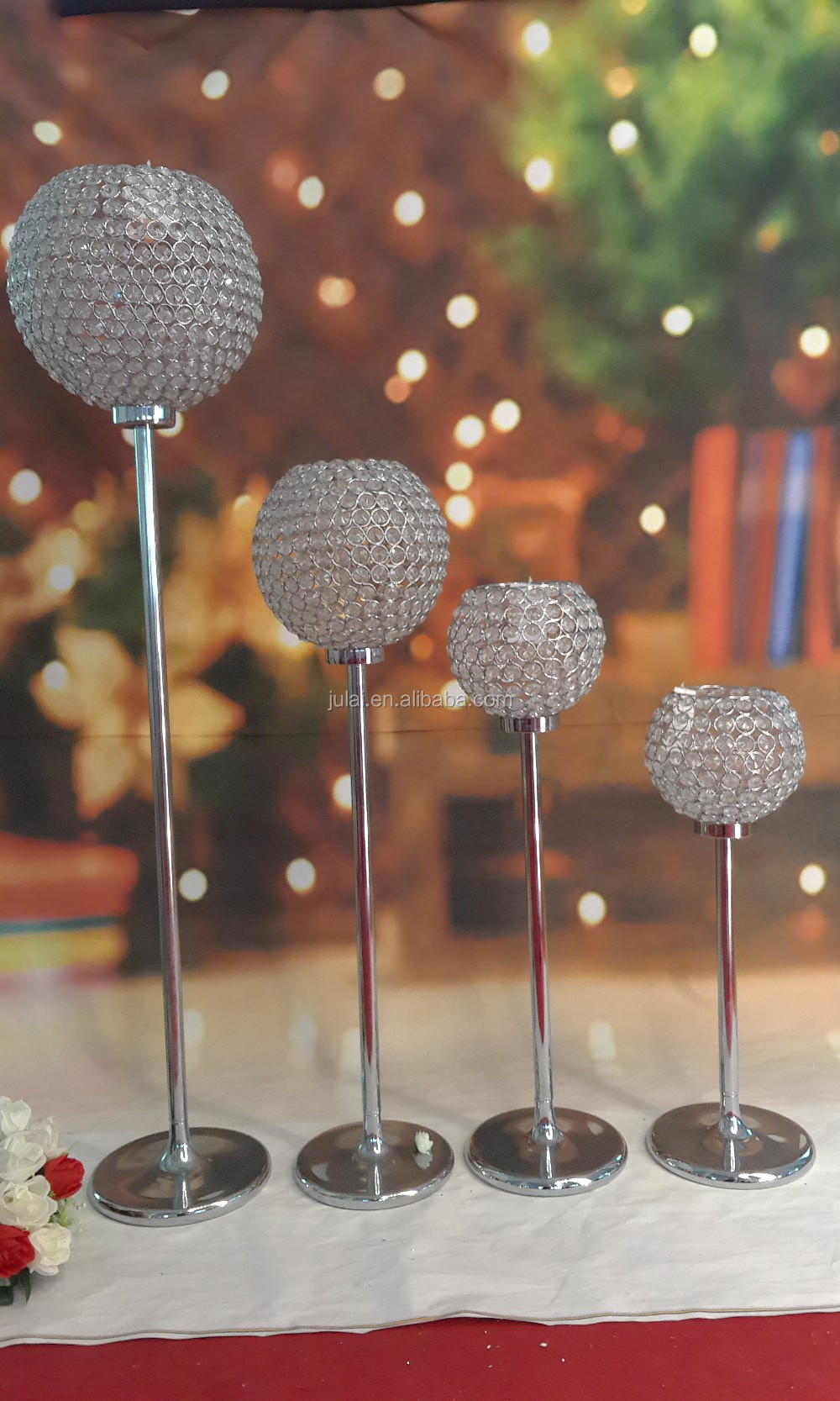 Tall crystal ball wedding candelabra centerpiece and