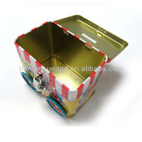 train coin bank tin with lock