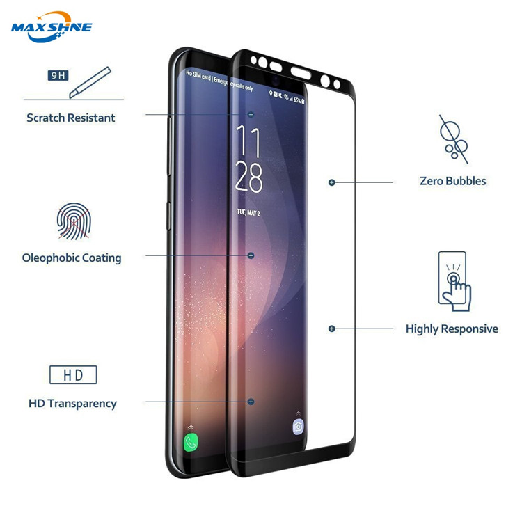 Mobile phone 3D 9H Curved Protective film full cover Tempered Glass for Samsung Galaxy S9 S9 Plus Screen Protector