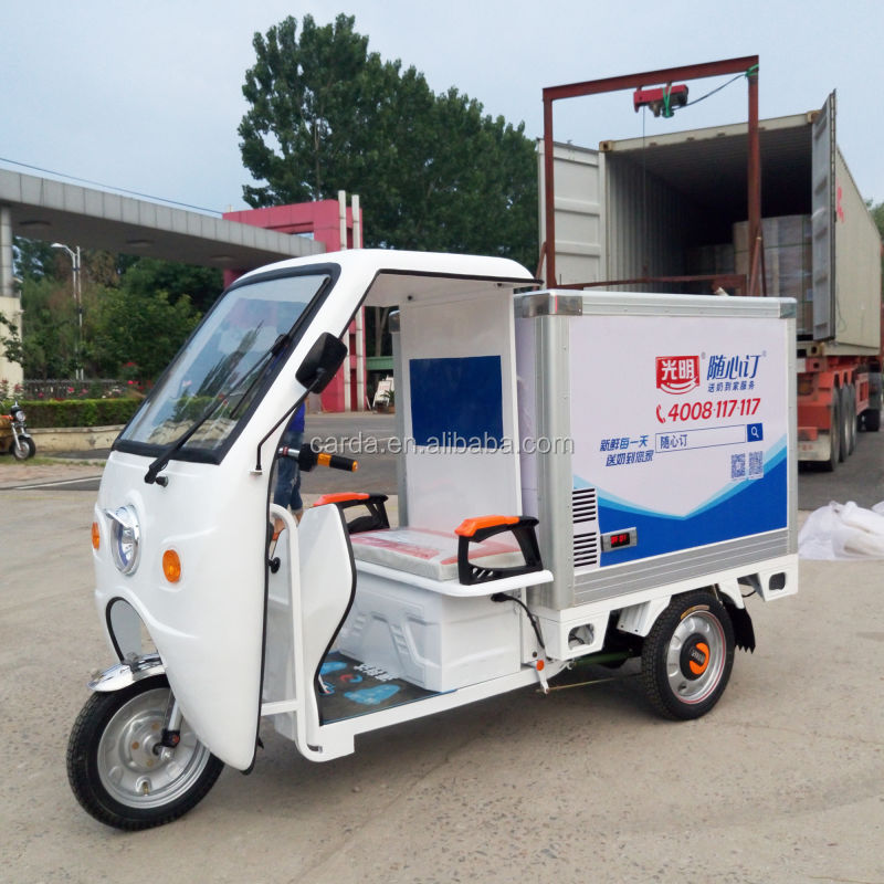 electric cargo box deliver food car 3 wheel milk cold vehicle refrigerated cabin passenger e-tricycle