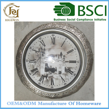 Round Digital Metal Quartz Wall Clock 3D effect