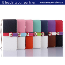 Flower buckle wallet leather stand cover case for iphone 6