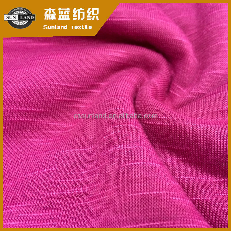 2017 spring season weft knitted 100% polyester slub jersey fabric