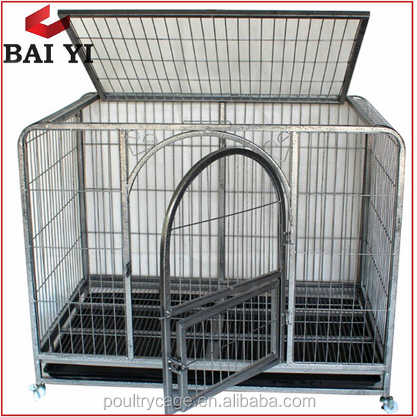 Foldable Square Tubing Dog Cage Metal Crate & Kennel With Wheels (Direct Factory)