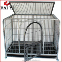Foldable Square Tubing Dog Crate & Kennel With Wheels (Direct Factory)