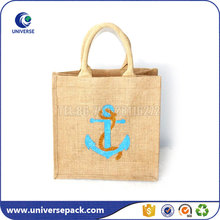 Custom Printed Natural Tote Burlap Bags With Handles For Shopping