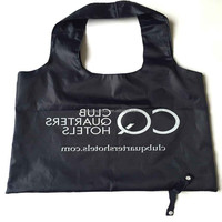 factory custom recycled black ripstop 190t nylon gift shopping tote bag