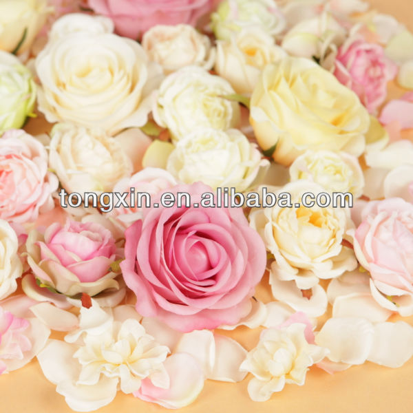 colorful mixed ranunculus rose silk flower head