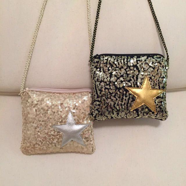 Korea style Shinning Pentagram Glitter Quilted Kids Accessories Children's Mini Handbags Designer Small Shoulder Bag for Girls K