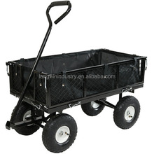 Large 4 Wheel Garden Cart Trolley with Fold Down Sides
