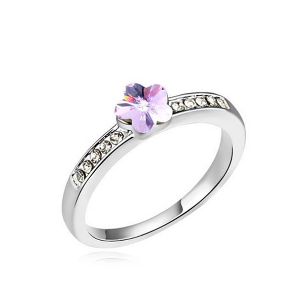 12883 Flower Crystal Stone Ring Charming Cute Unadjustable Ring for Women Girls