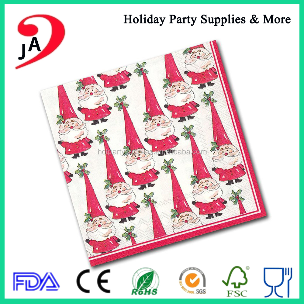 New Arrival Hot Sale Christmas Printed Paper Disposable Hand Napkins