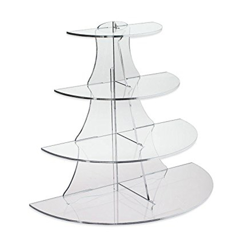 4 Tier Clear Acrylic Display Circle Riser, Cup Cake Stand, Jewelley Display Stand