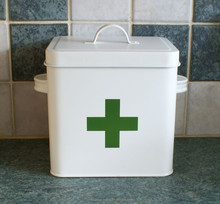 White Galvanized metal medical equipment first aid kit