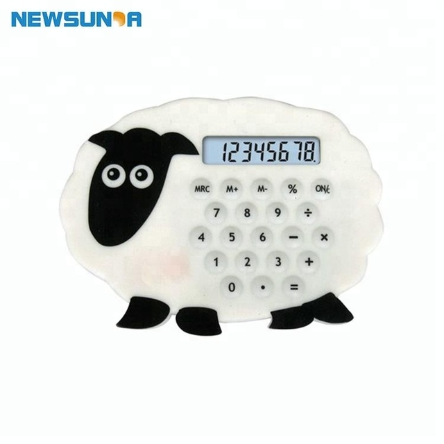 Promotion unique design animal sheep silicone small scientific calculator