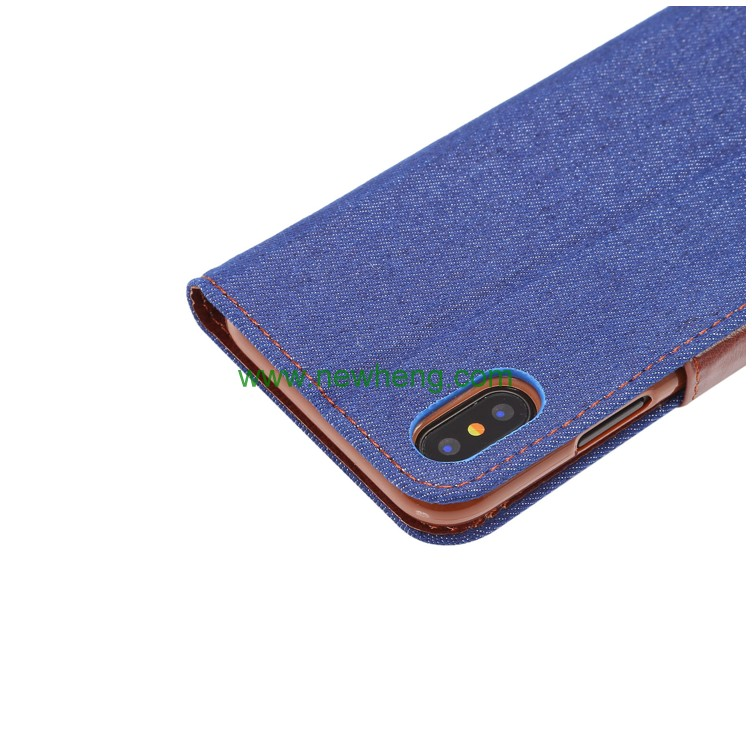 Hot selling cowboy jeans leather wallet mobile phone case for iphone X