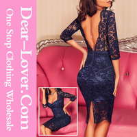 Navy Blue Lace Padded Real Pictures of Cocktail Dresses Knee Length Sleeves