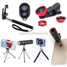 MINI Tripod + Holder 3 in 1 mobile phone lens 0.67x Wide Angle Macro 180 Fish Eye lens camera Kit Set for iPhone 6 htc