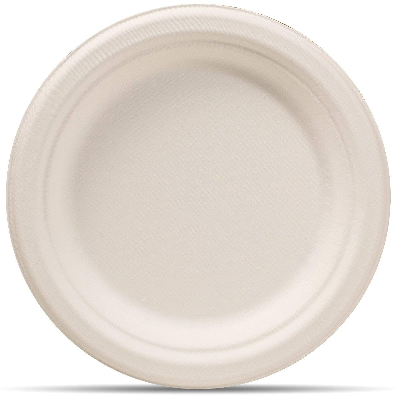 Biodegradable, Plant-Based, Round Plates 50 dinner plates and 50 small dessert plates, wheat straw fiber bagasse (sugarcane)