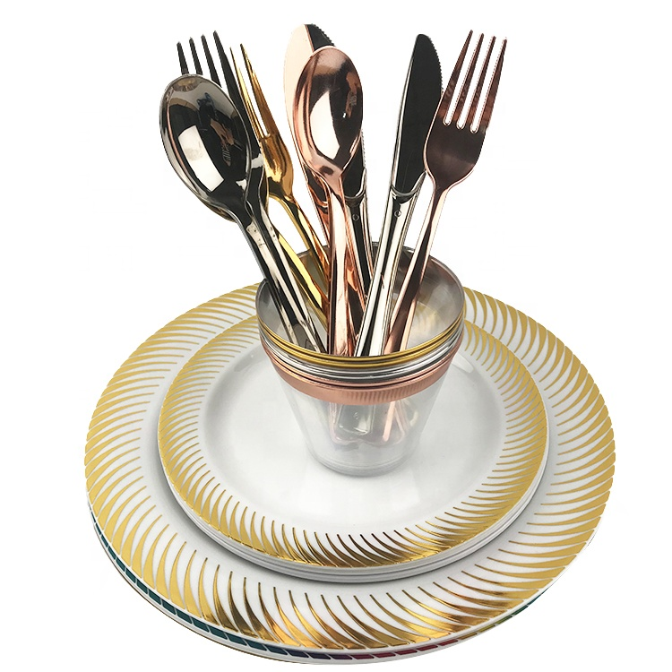 Hot Selling Products Round Gold Dinner Wedding Plastic Disposable <strong>Plate</strong>