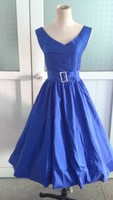 Bestdress cheap pin up 2014 new royal blue V Neck vintage swing prom rockabilly dress boutique