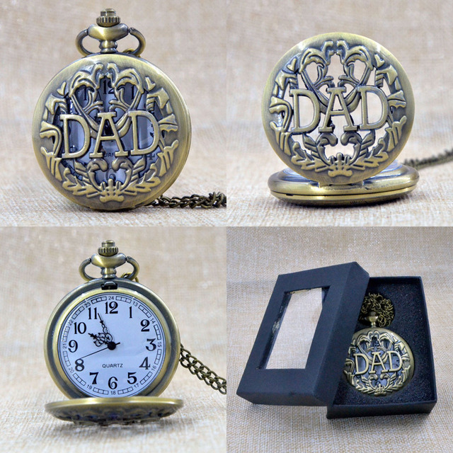 Fashion Bronze DAD Father Hollow Quartz Pocket Watch Analog Pendant Necklace Mens Gift Box P001B