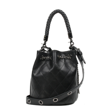 Adjustable strap Grainy black-hued leather drawstring bag with leathers lobster clasp