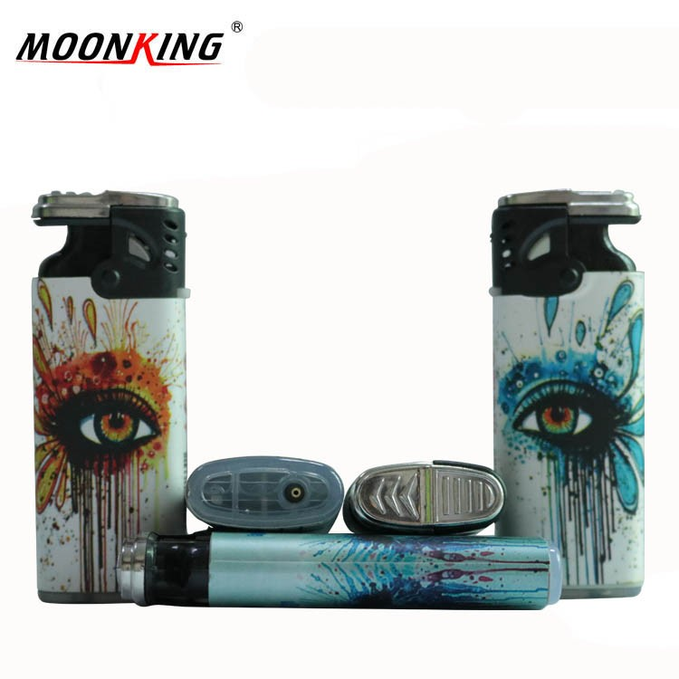 2017 high quality new plastic material windproof jet fire lighter with custom wrap