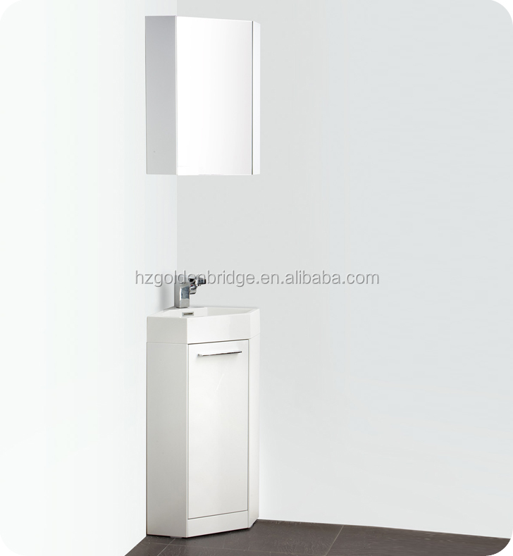 Modern Slim Corner PVC Cabinet Vanity for Bathroom