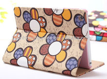 Hot ! Deluxe Beautiful Flowers Pattern Flip Leather Stand Case for the iPad Mini