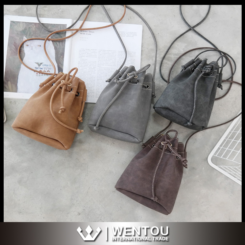 New Design In Stock Mini Drawstring Nubuck Leather Bucket Bag
