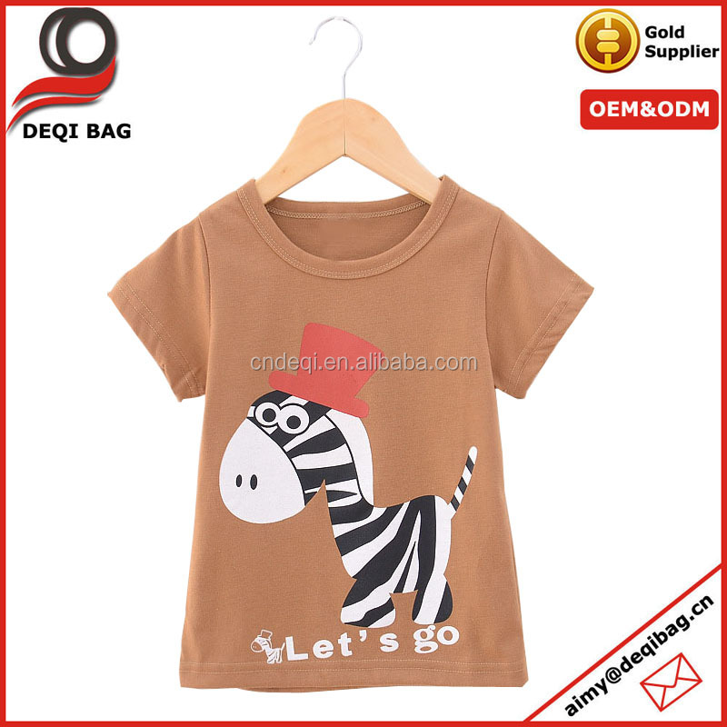 hot sale boys and girls cotton T-shirt customized logo baby clothing adorable cartoon T-shirt for kids