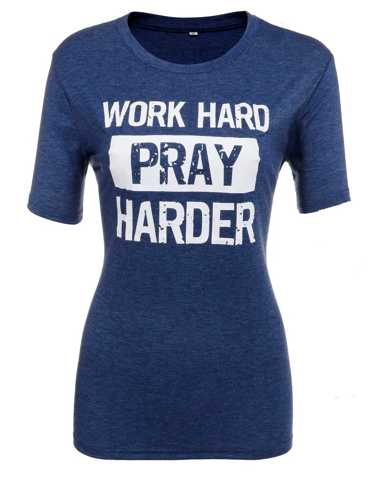 Work Hard Letter Printed Short Sleeve Crew Neck Pullover T-Shirt