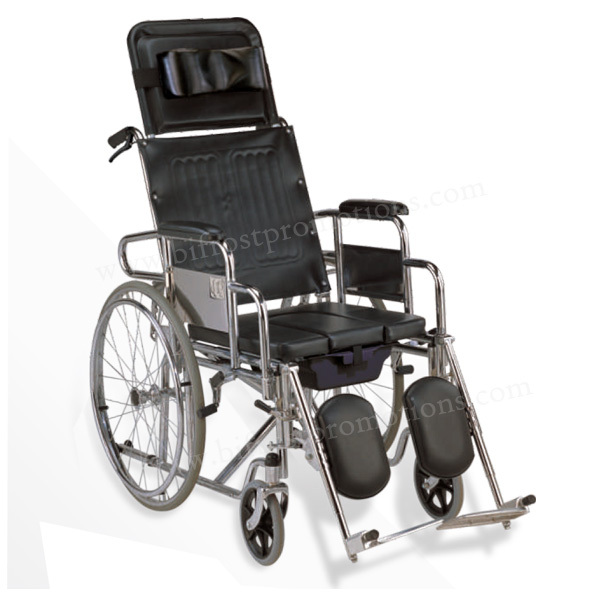 Economical Manual Adult Commode Hospital High Backrest Wheelchair