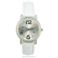 2016 Beautiful gift watch for girls with drawing in the dial and stones in the bezel