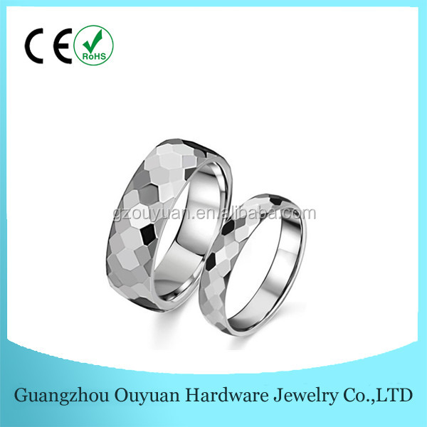 Ouyuan Jewelry Best Selling Faceted Scale Tungsten Carbide Ring ,Couple Tungsten Carbide Ring