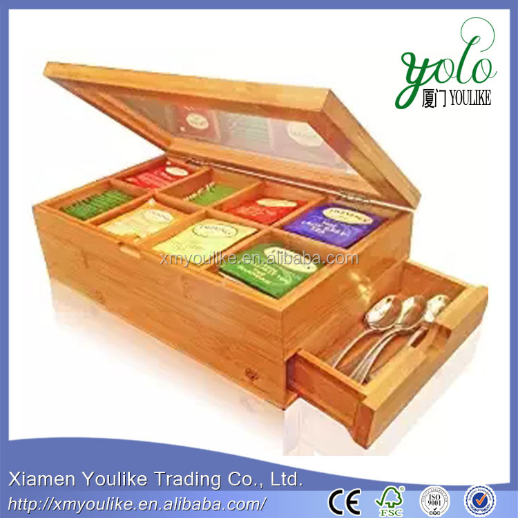 Best Natural Bamboo Tea Box 8 Storage with Expandable Drawer