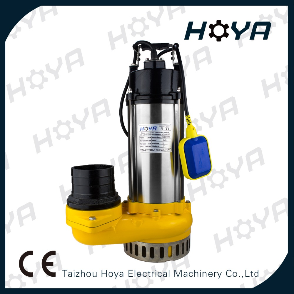 "V2200F-4"" electric submersible sewage water pump"