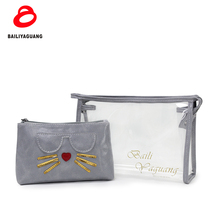 water resistant free sample Guangzhou hello kitty cosmetic bag pu leather 2 sets cosmetic bag vendors