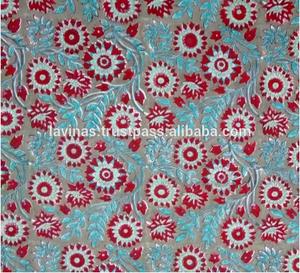 Handmade Pure Cotton Block Printed Fabric Jaipuri Sanganeri Textile from India / Fabric / 100% Cotton Fabric