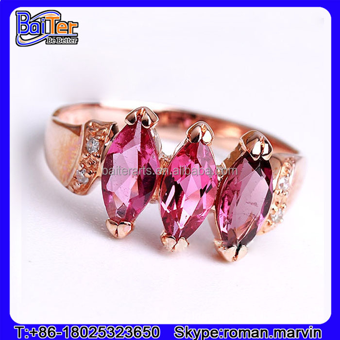 Fashion Jewelry 925 Sterling Silver Three Stone Marquise Cut Ruby Ring Ruby Engagement Rings